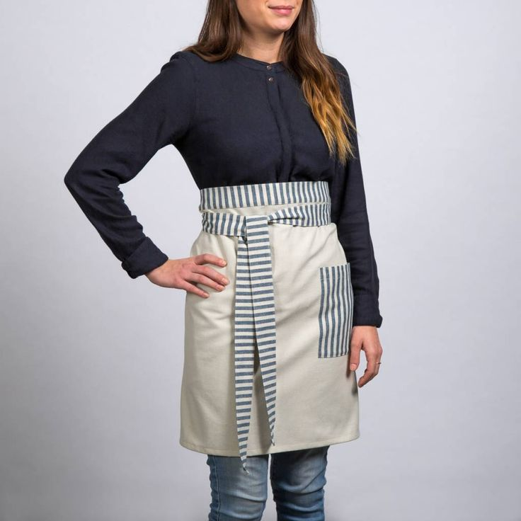 Demi-tablier chambray à rayures bleues 16.99 $