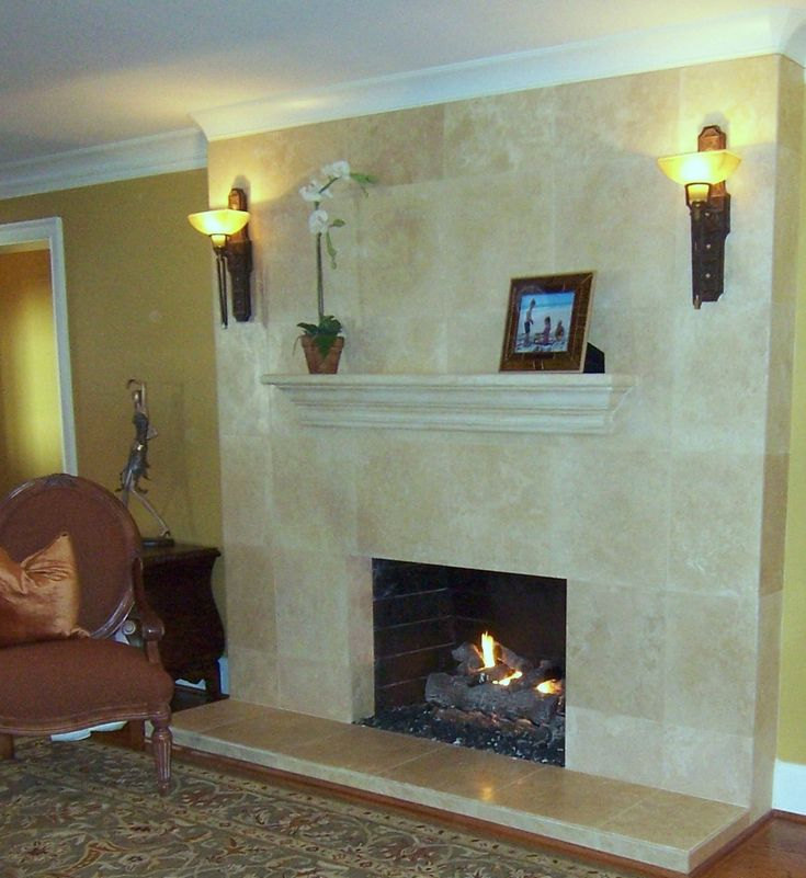 Tiled fireplace basement pinterest tiled fireplace - How to reface a brick fireplace ...