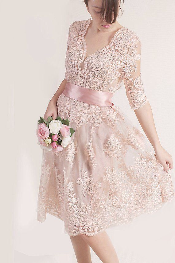 Plus Size Lace Short Dress Blush Pink Wedding Party Gown Bridal Gown Dress With Sleeves Romantic Dress Beach Wedding Kleid Mit Armel Kleid Standesamt Kurz Brautkleid Kurz