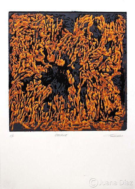 <<Octubre>>. Xilografía (plancha perdida). 1/4 de papel -cartulina. 2012