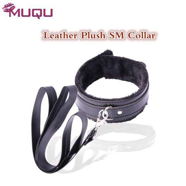 Sex shop bondage collar  leather plush long chain sex toys for couples slave collar SM games gay fetish strapon erotic toys