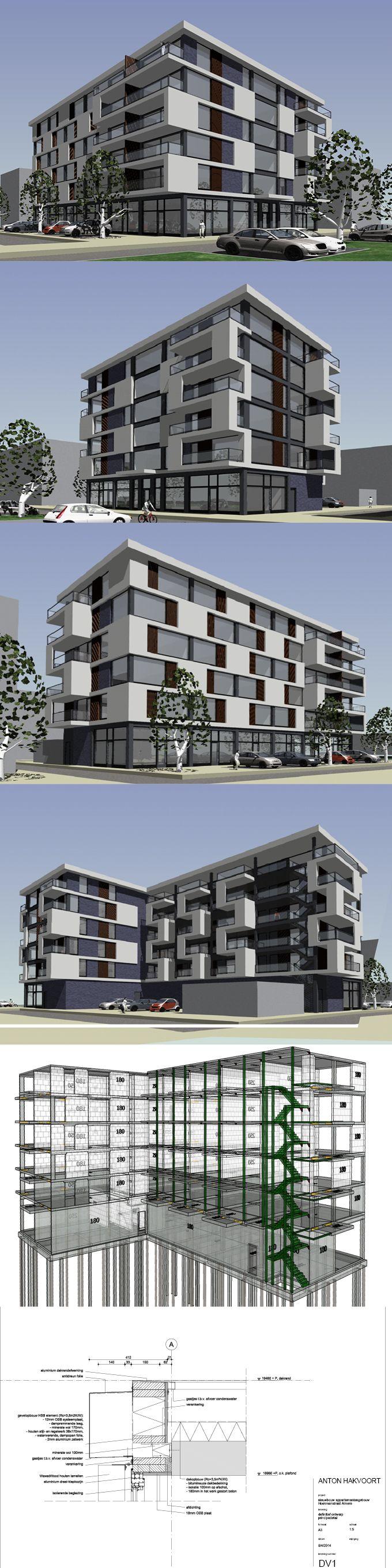 2013 Hoekmanstraat Appartementengebouw Almere / gevelontwerp voor Oebele Hoekstra Architecten BNA / ontwerp in sketchup, autocad en archicad / anton.hakvoort@hotmail.nl / www.stadsappartementen-almere.nl