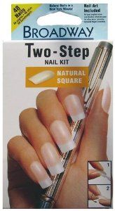 Broadway 2 Step Natural Square Nail Kit, 48 Nails with Nail Art by Kiss Products. $4.99. Perfect manicure with or without nail polish. Pink gel glue creates natural, healthy looking nails. 48 nails with glue and nail art inside. Natural square, wear natural or decorate yourself. Natural nails in a New York Minute!. Broadway nails are can be worn natural or decorative which is up to you. These 48 natural square nails come with a nail art sheet. Kit contains: 48 full cover n...