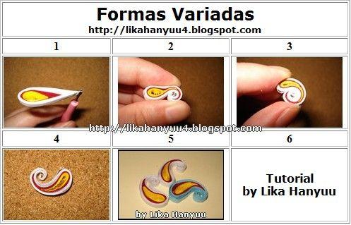 Tutorial for making various shapes by:   Lika Hanyuu [Eliane Higa] - www.likahanyuu4.blogspot.com/2010/12/tutorial-quilling-penas-formas-variadas.html#