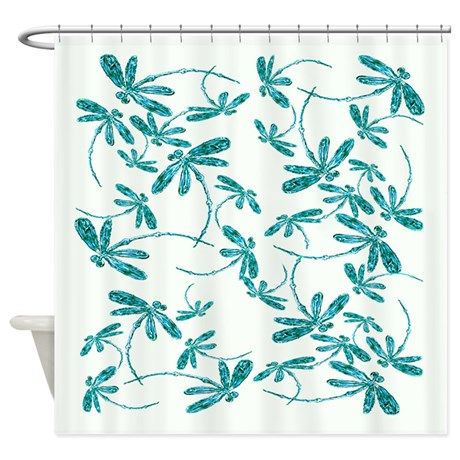 dragonfly frenzy turquoise shower curtain
