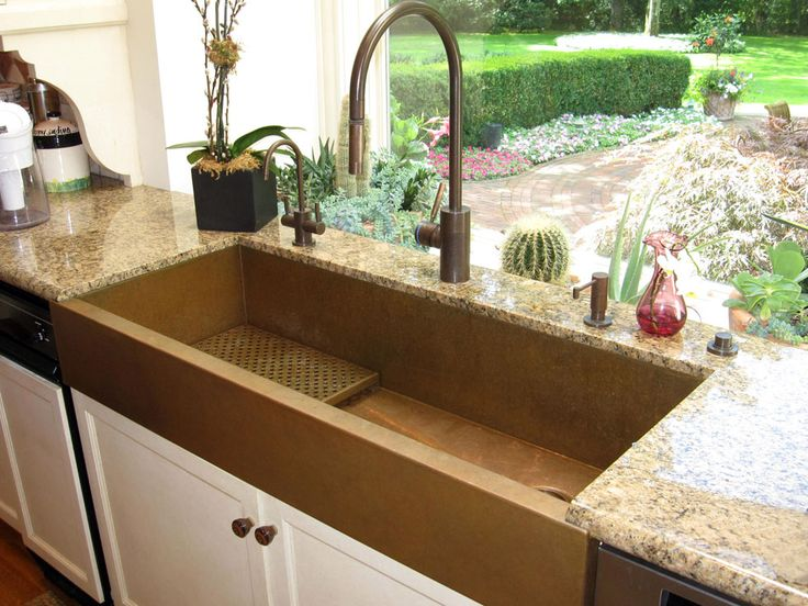 Medium image of 48 inch copper apron front sink with copper drain grid by rachiele  faucet suite by