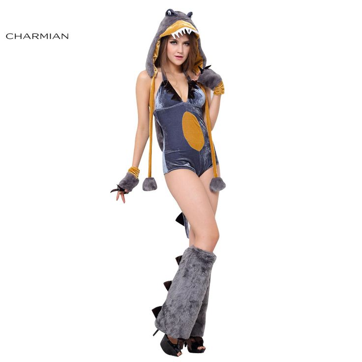 Charmian Sexy Dinosaur Catsuit Halloween Cosplay Costume for Women T-Rex Adult Carnival Costume Fantasias Feminina Para Festa