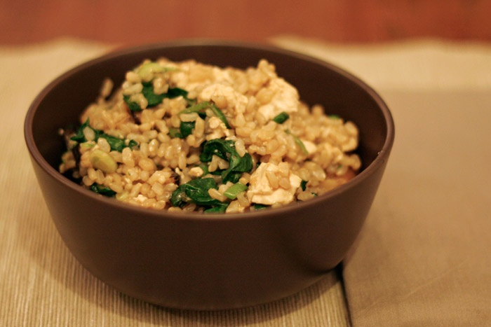 Brown Rice with Tofu, Dried Mushrooms and Baby Spinach.... I made a similar version of this the other night, and it was FAN-freaking-TASTIC. xo