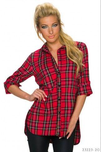 Βαμβακερό ασύμμετρο καρό πουκάμισο - Κόκκινο Μαύρο