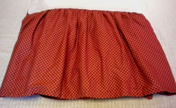 Ralph Lauren Chaps Elizabeth King Size Red Tan Bed Skirt Dust Ruffle Check EUC #Chaps #Country