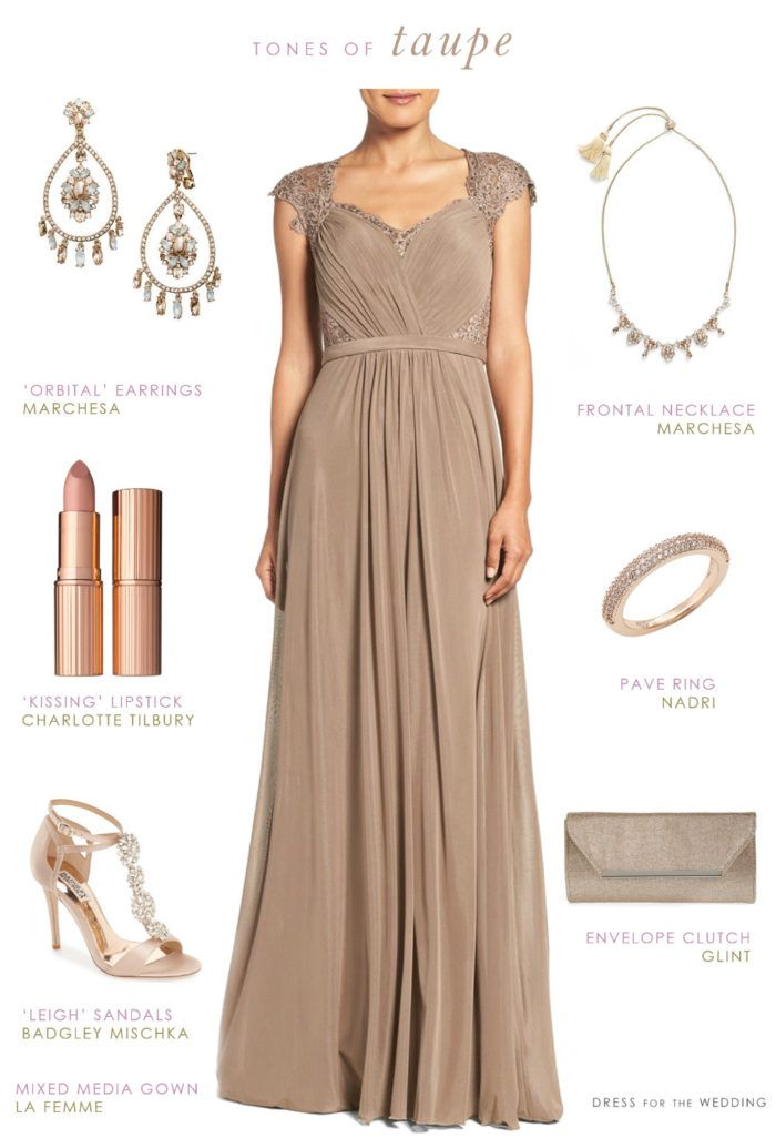 Taupe Evening Gown for Mother-of-the-Bride or Mother-of-the-Groom dress