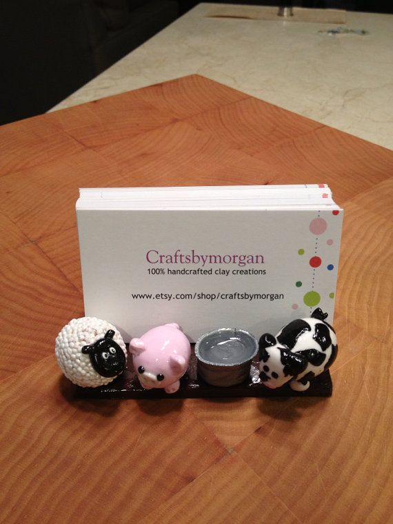 Business Card Holder Farm Animals Pig Sheep Cow By