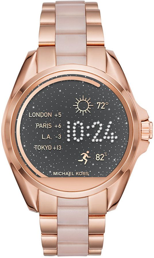 Michael Kors Women's Access Bradshaw Digital Rose Gold-Tone Stainless Steel and Blush Acetate Bracelet Smart Watch 44mm MKT5013 http://www.thesterlingsilver.com/product/mk5076-ladies-stainless-steel-chronograph-michael-kors-watch/