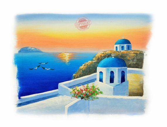 Santorini 8-Oil Painting,Original Oil Painting on Canvas,Palette Knife,Landscape Painting,Santorini Greece,Sunset Painting,Blue Canvas
