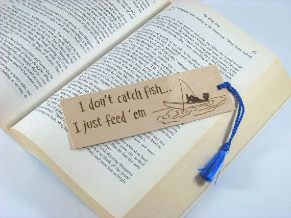 Fishing Wood Bookmark  Hand Pyrography  Fishing by bkinspired, $7.00