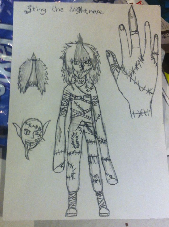 My character hi's name is sting the nightmare :)