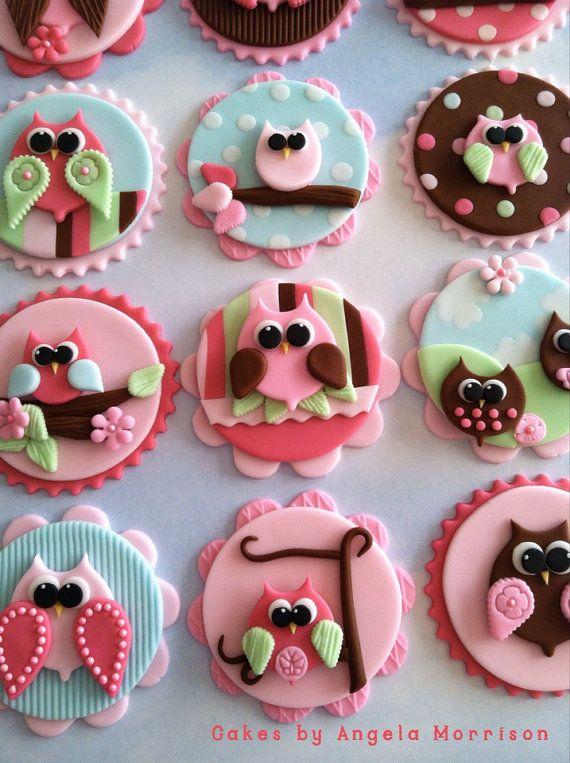 Set of twelve cupcake toppers