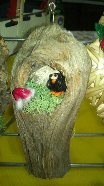 Decorazione per albero con legno e fimo