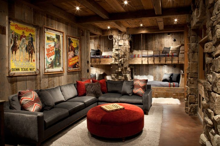 Traditional man cave family room with built in hideaway bunk beds and grey couches