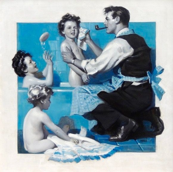'Family Man' by Andrew Loomis (1892-1959) : Original Oil on Canvas