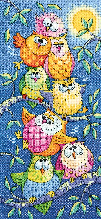 Tottering Tower Owls - Heritage Crafts cross stitch kit