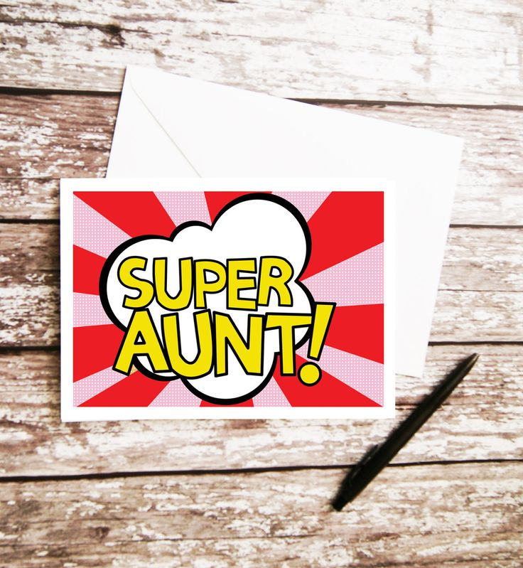 Super Aunt Card, Pop Art Design, Aunty Birthday, Gift For Her, Card For Her, Best Auntie, Superhero Aunt, Aunty Greetings Card, From Kids by peenanator on Etsy