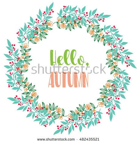 Hello, Autumn. Vector Brush lettering. Vector card design with custom…