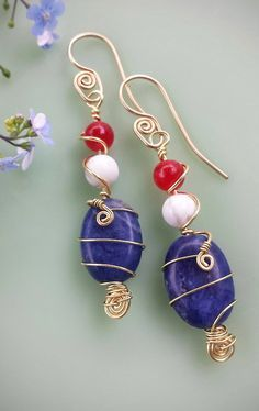 Red agate, white jasper and blue sodalite, wire wrapped together in an earring that will complete your 4th of July or memorial day holiday outfit to perfection! __**All gemstones are natural. All meta