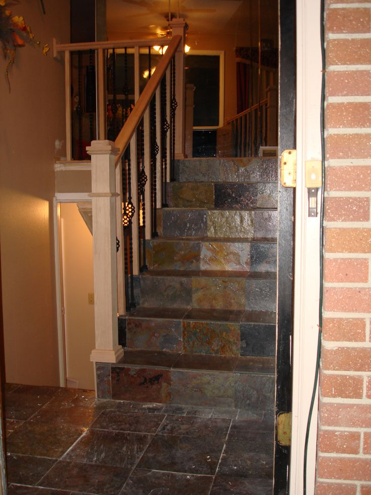 Foyer Tile Xbox One : Slate tile entry staircase new oak and iron railing on