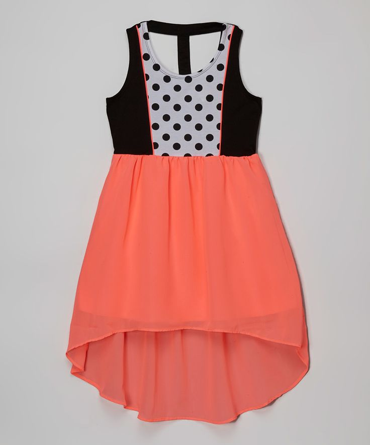 Look at this Pogo Club Neon Coral Roselyn Hi-Low Dress on #zulily today!