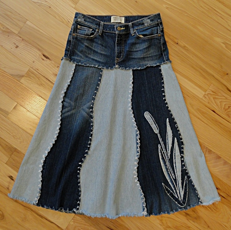 Cattail Jeans Skirt - Upcycled Denim Skirt Picture only, sadly no instructions. However gives me ideas.