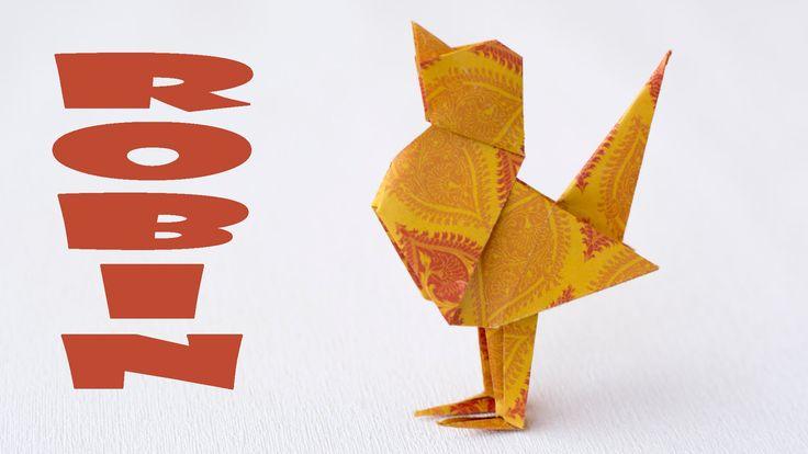 Оригами птица. Как сделать птицу из бумаги. Малиновка
