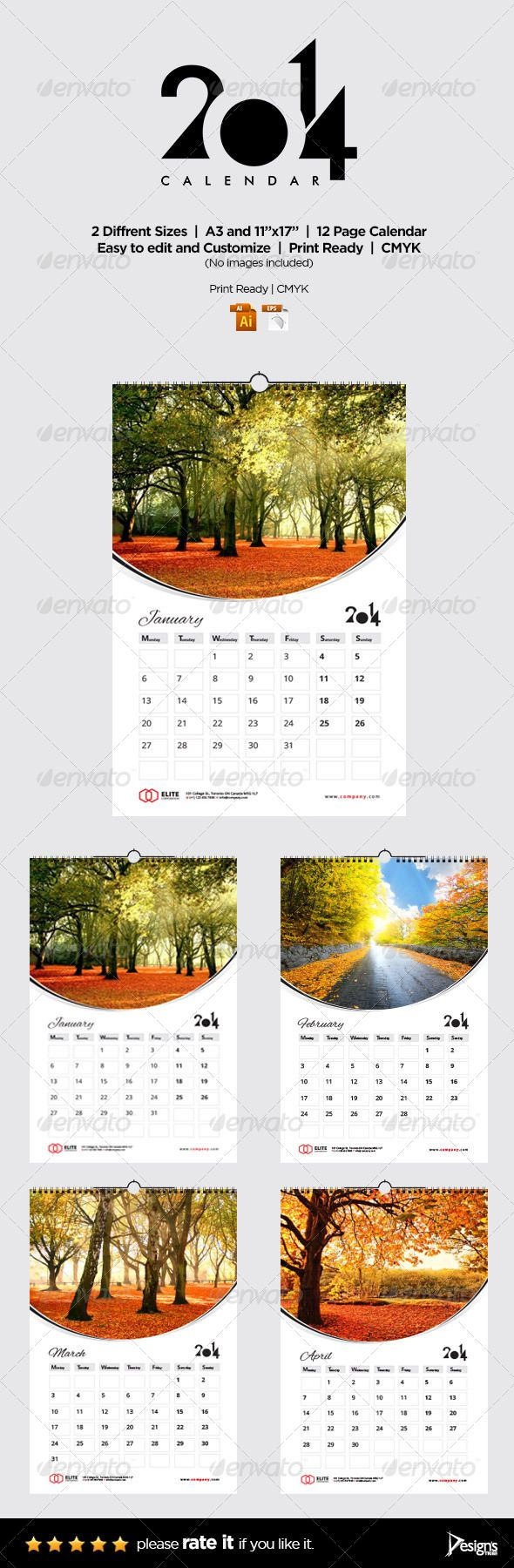 """Wall Calendar 2014 Vol 2  #GraphicRiver         Wall Calendar 2014 Vol 2   Size A3 & 11""""×17""""   Volume 2 of the 2014 Calendar Templates includes 26 AI and 26 EPS print ready files.   Volume 2 calendar includes 12 months from January 2014 to December 2014 plus Front Cover in two different sizes.   Clean, well organized and easy to use, just add in your own company or personal details, adjust the colour, add your photos and you are ready to print!!   NOTE: No Images included.   Features…"""