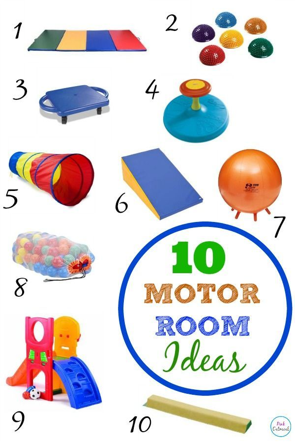 Great ideas for a motor room from a pediatric physical therapist, playroom or in the classroom.  Great gifts for toddlers or preschool aged children that are actually useful and promote movement! -Pink Oatmeal