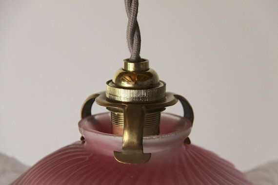 French Antique Translucent Glass Ceiling Light Pink by maintenant