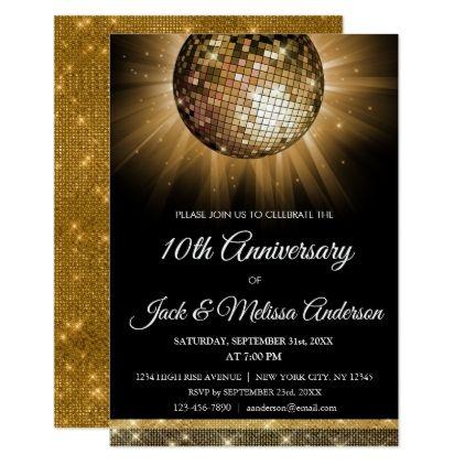 The 25 best wedding anniversary invitations ideas on pinterest 10th wedding anniversary party gold disco ball card solutioingenieria Gallery