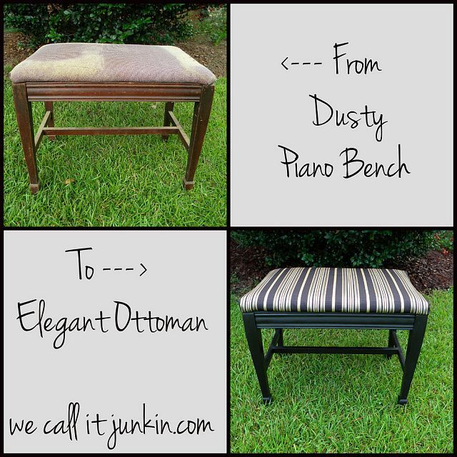 Piano Bench Turned Ottoman With Tutorial  sc 1 st  Pinterest & 240 best Pianos / Benches / Stools images on Pinterest | Chairs ... islam-shia.org