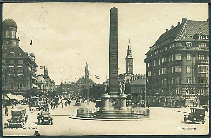 Vesterbrogade ved Frihedsstøtten i 1928.