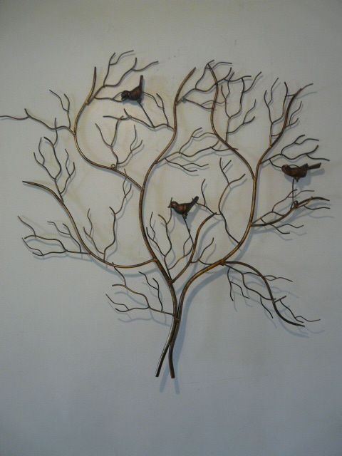"Large Outdoor Metal Wall Art | Contemporary Metal Wall Art ""Large Gold Birds In A Tree"""