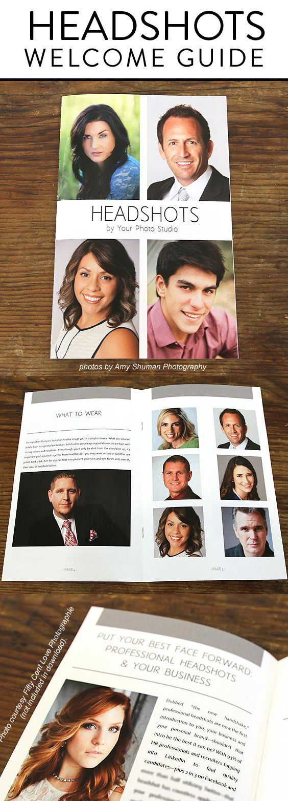 Headshot Photographers: Book more  clients for your headshot photography business with this magazine style headshot welcome guide template. This is the perfect client welcome packet template to educate your clients their headshot session. All pre-written text included for your use including topics on what to wear for your headshots session, how to get ready for your professional headshot session and more! #headshots #photographybusiness