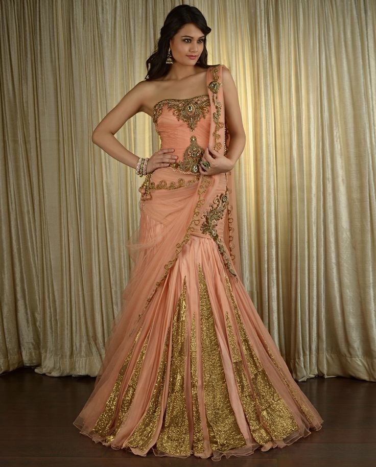 Sequined and Paneled Peach Lengha Set