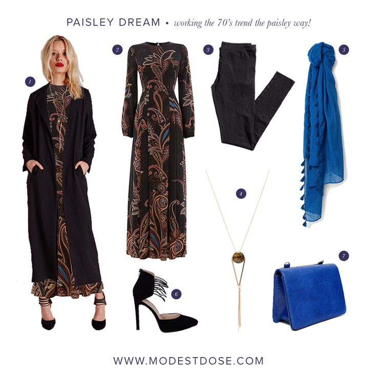 Our #ottd featuring the lovely Paisley maxi dress from @warehouse. We are loving this dress for the winter season. It's perfectly modest and so 70's!   1.@missguided 2.@warestyle 3.@hm 4.@asos 5.@mango 6.@missguided 7.@asos