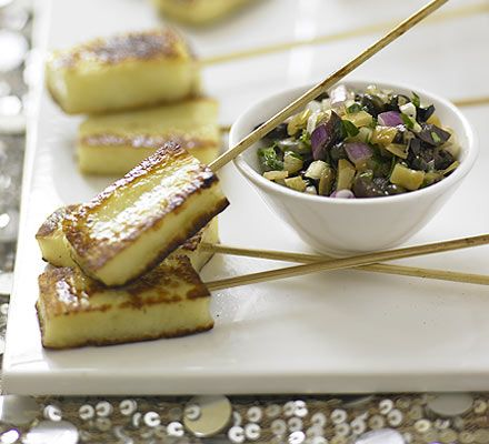 Halloumi skewers with parsley & lemon salsa: http://www.bbcgoodfood.com/recipes/4282/halloumi-skewers-with-parsley-and-lemon-salsa#