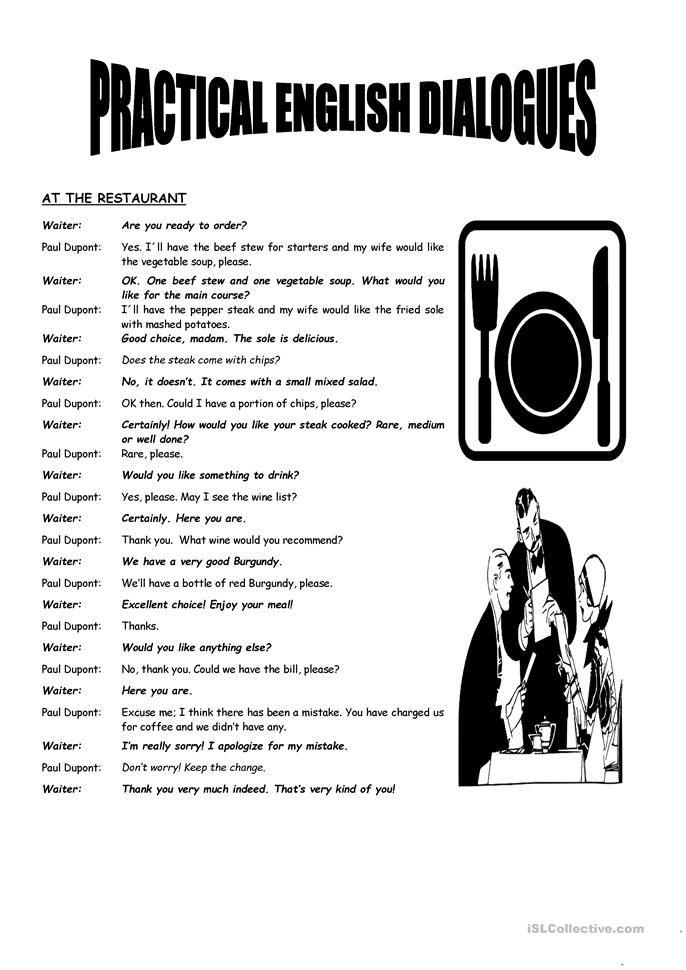 Practical English Dialogues English Esl Worksheets Conversational English English Learn English Words