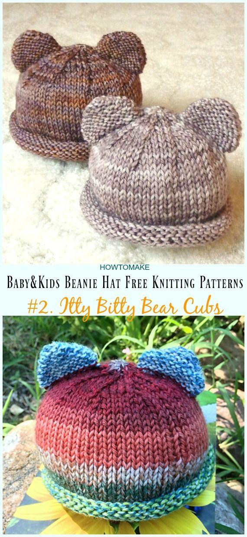 Baby & Kids Beanie Hat Free Knitting Patterns en 2018 | Knitting ...