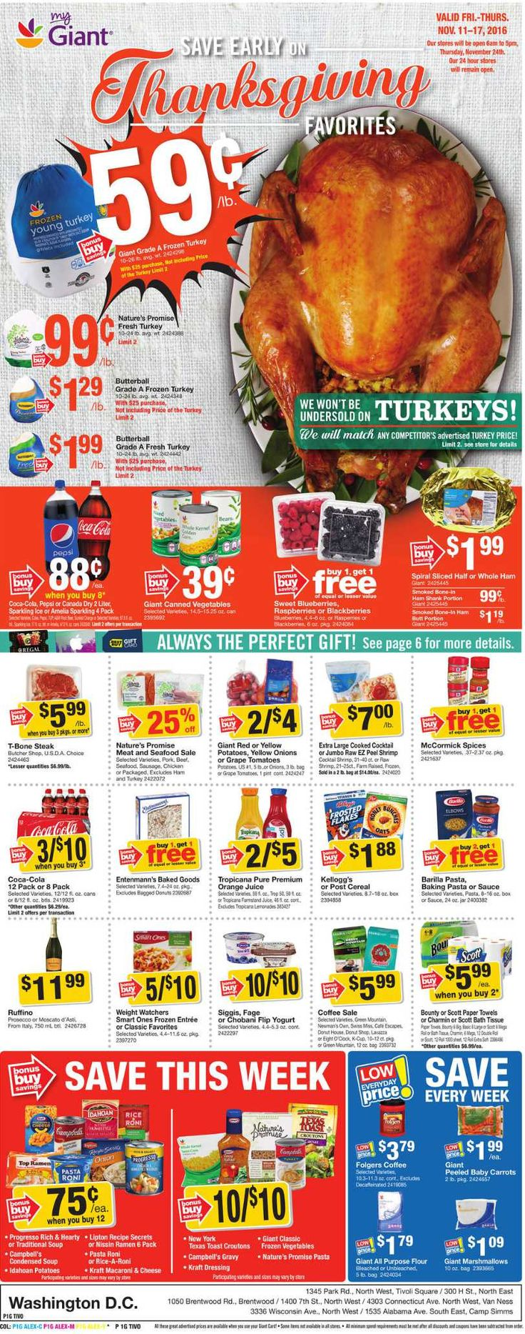 Giant Food Weekly Ad November 11 - 17, 2016 - http://www.olcatalog.com/grocery/giant-food-weekly-ad.html