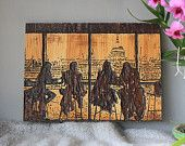 London View - from the Tate Modern Museum - Handmade wood picture etched in pine wood
