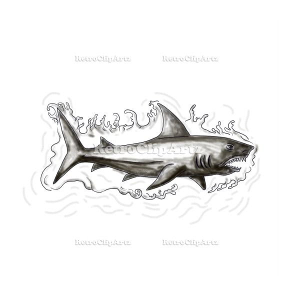 Shark Swimming Water Tattoo Vector Stock Illustration.   Tattoo style illustration of a shark swimming in water viewed from the side set on isolated white background. #illustration   #SharkSwimmingWater