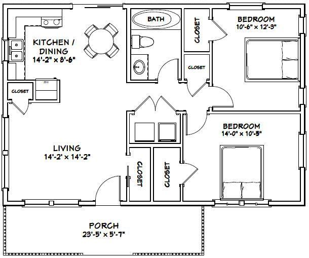 36x24 House 36x24h2 864 Sq Ft Excellent Floor Plans Cabin House Plans Small House Decorating House Flooring