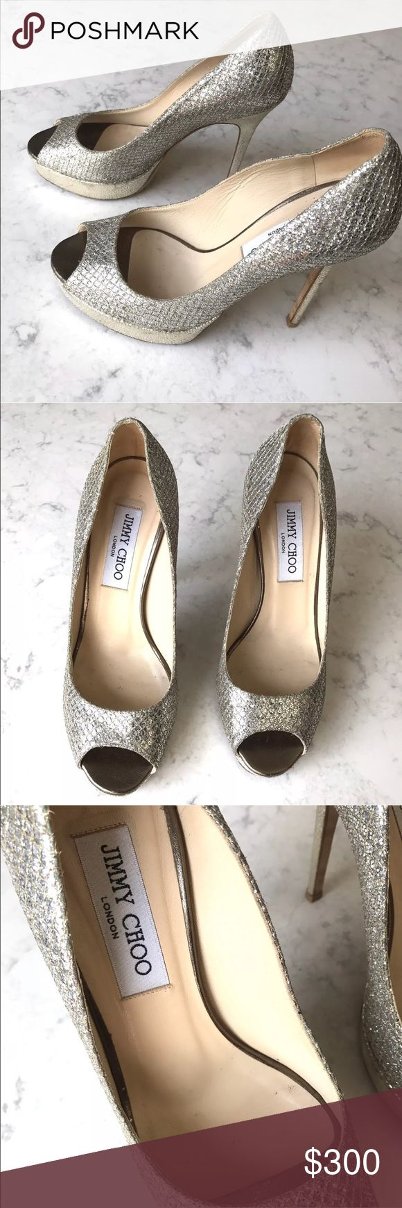 """Jimmy Choo Silver Glitter Heels Shoes Jimmy Choo Silver Glitter Peep Toe Platform Heels Shoes  5"""" heel Some discoloration at the seems (see photos 8)  ***Please feel free to ask any questions***  💚Thank you for your interest!💚  (BE:1221) Jimmy Choo Shoes Heels #GlitterHeels"""